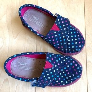 Tom's shoes navy with coloured dots